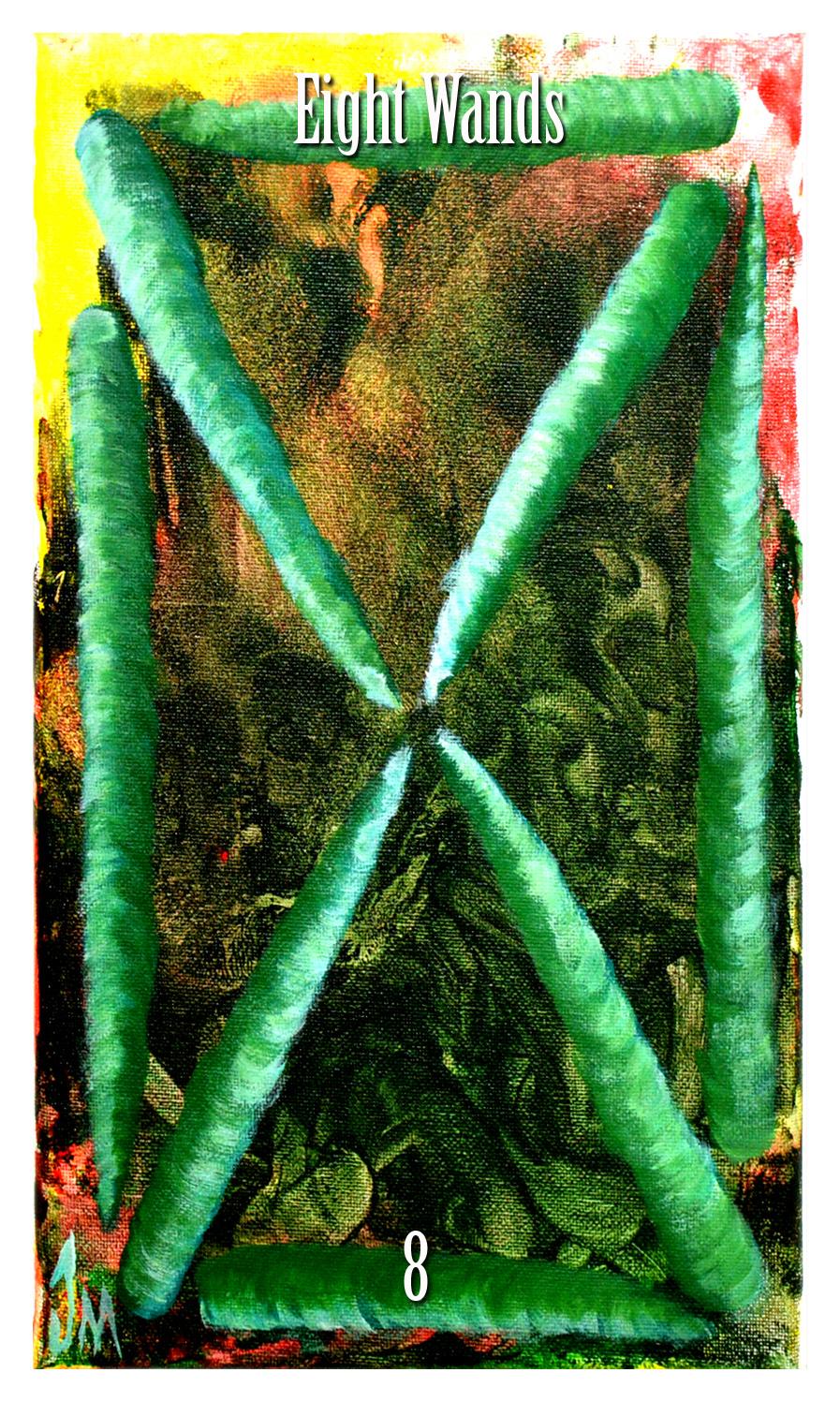 eight of wands. initiates way tarot by Jade M