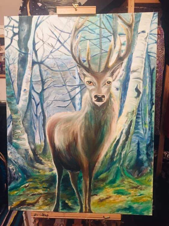 Stag A2 Print on Silk Paper by Jade Melany