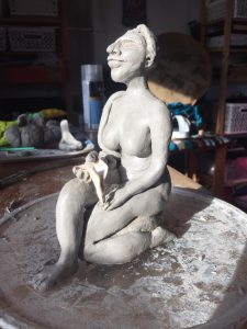 River Goddess Clay Sculpture by Jade Melany